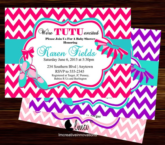 tutu baby shower invitation chevron baby shower invitation digital
