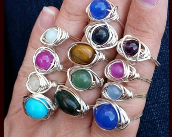 Silver plated wire wrapped  wrapping gemstone crystal ring