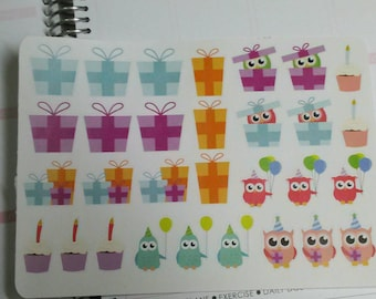 Birthday owl stickers for erin condren life planner, filofax, daytimer, plum planner, kikki k or any planner
