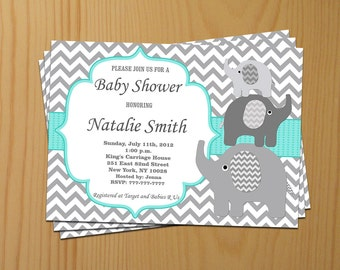 Baby Shower Invitation Elephant Baby Shower Invitation Neutral Baby Shower Invites (01-1) - Free Thank You Card - Instant Download