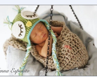 Crochet Baby, Owl Hat, Photography prop, hand knit,Ready to ship