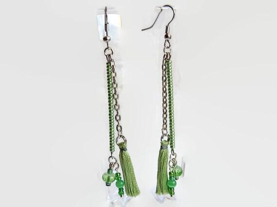 drop earrings mint green tassel earrings silver by