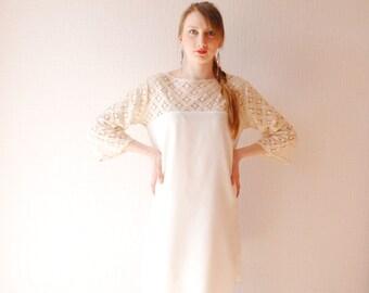 SALE OFF WHITE lace dress ~ Boho dress ~ Lace top dress ~ Bohemian wedding ~ Party dress ~ Wedding dress ~ Bohemian dress ~ Cotton lace