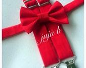 Bow Tie and Suspender Set, Red Suspenders, Kids Valentine, toddler Suspender and Bow Tie, Red Bow Tie and Suspenders, Valentine's suspenders