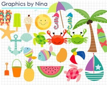 50% SALE INSTANT DOWNLOAD/  Summer clipart / Scrapbook/ for Personal and Commercial Use