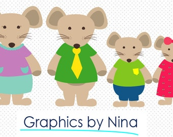 INSTANT DOWLOAD   Mice Family clipart  Scrapbook for Personal and Commercial Use