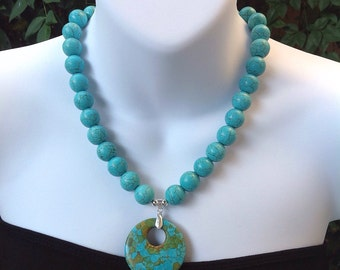 Turquoise necklace. Chunky turquoise necklace. Western necklace. Pendant necklace. Mosaic turquoise.