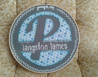 Custom Hand Embroidered Monogram/Announcement