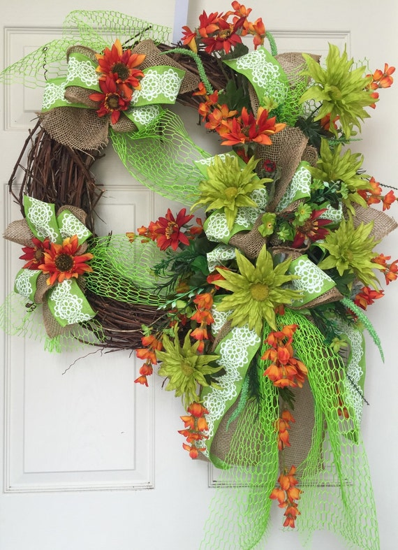Summer colorful grapevine wreath by williamsfloral on etsy for Colorful summer wreaths