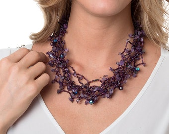 Amethyst Glass Bead Necklace with Magnetic Closure - Guatemala