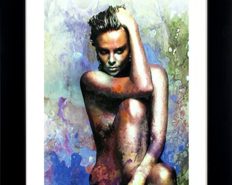 "Charlize Theron Print - Titled ""Blue Daze 2""  wall art by Mark Lewis - Limited Edition Art Print Hand Signed with a COA"