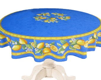 70 inches Round Tablecloth - Provence Oilcloth  Lemons in Blue. Ready to ship. Matbhing Napkins  available.