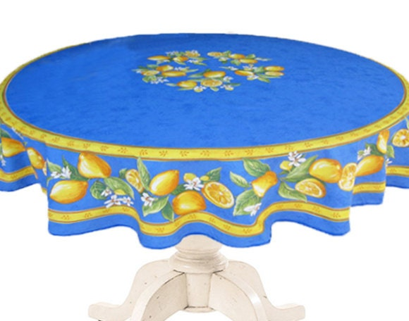 70 Inches Round Tablecloth Provence Oilcloth Lemons In
