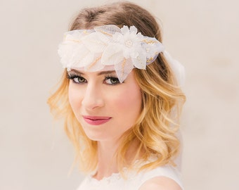 Bridal headband silk flowers alba roses Louise bead embroidery flapper wedding