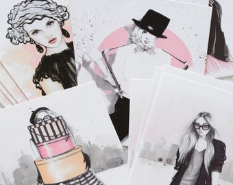 Fashion Illustration Sketches, Collection of 5 Fashion Postcards or Mini Prints, Pen And Ink, Watercolor Postcards
