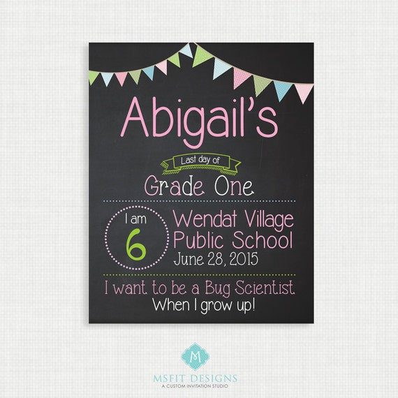 First Day of School or Last Day of School Sign - Back to School - Printable Chalkboard Poster - Chalkboard sign - Pink  Digital Copy