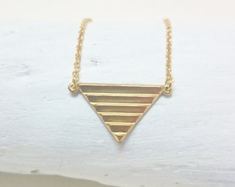 Gold Triangle Geometrical Necklace//Brass Triangle Necklace//Gold brass minimalist necklace//Gold Layering necklace//Hypoallergenic necklace