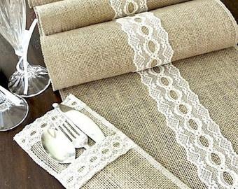 Rustic chic Burlap table runner wedding table runner with vintage ivory Italian lace  , handmade in the USA