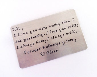 Metal Wallet Insert Card - Anniversary Gift, Maid of Honor, Bridesmaid,Grooms, Weddings -Create Your Own Message
