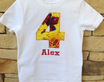 SPIDERMAN BIRTHDAY Shirt. Yellow Birthday Number Kids Appliquéd Personalized T-shirt. Marvel, Avengers Spider-Man, Boy's Birthday PARTY