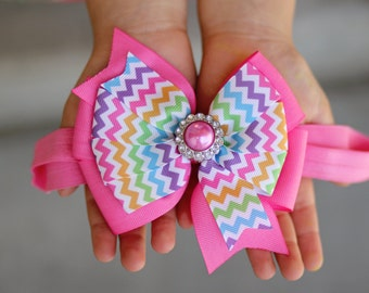Chevron Bow Headband, Chevron Hair Bow, School Hair Bow, Pastel Hair Bow, Chevron Bow, School Bow, Toddler Headband, Pink Hair Bow Headband