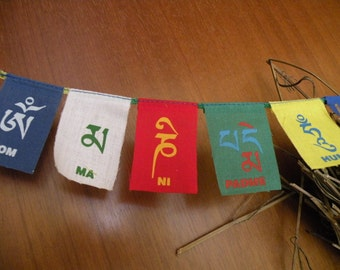 ॐ small Tibetan prayer flags luck Garland pennant cotton to support Tibetans of the Himalayas