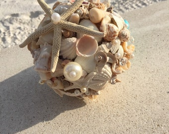 Xo bouquets 15 inch sea shell beach wedding bouquet