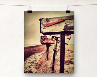 Country Road, Mailbox Photograph, Fine Art Photo, Red Rustic Decor