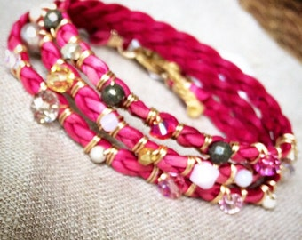 Pink Leather Wrap Bracelet
