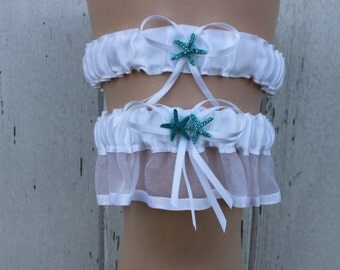 White Garter with Blue Starfish / Wedding/ Bridal Accessories