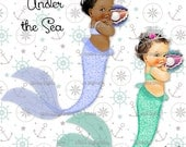 Mermaid Baby Girl | Clam Shell | Tiara | Glitter | 3 Skintones 5 Hair Colors Transparent Clipart  Instant Download PNG