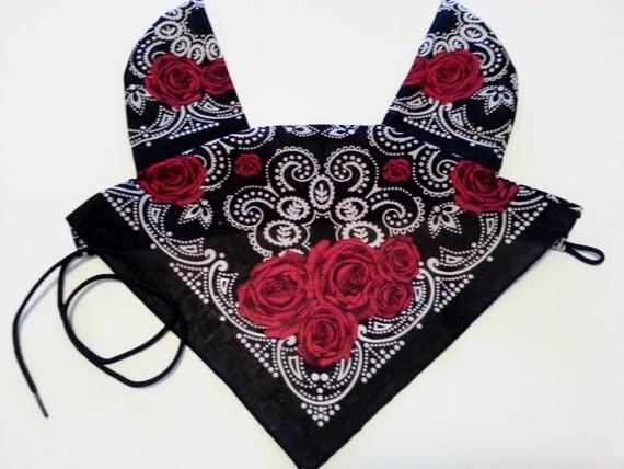 Horse fly bonnet mask bandana horse saddle pad black with red roses