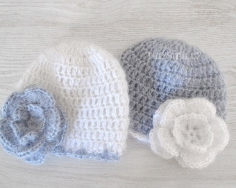Twin Baby Girl Hats, White and Gray Baby Girl Twin Hats, Crochet Baby Flower Beanie, Twin Baby Hats, Newborn Twin Hats, Infant Baby Hats