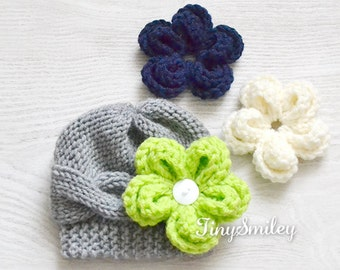 Cable Knit  Baby Hat, Cable Baby Hat, Gray Baby Hat, Gray Cable Baby Girl Hat with 3 REMOVABLE flowers