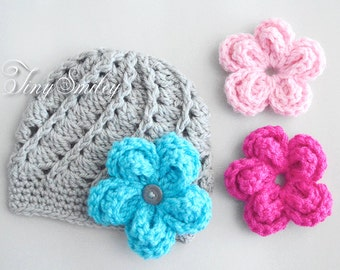 Interchangeable Crochet Flower Hat, Gray Baby Girl Hat with Three Large Flowers, Infant Girl Hats, Cute Baby Hat