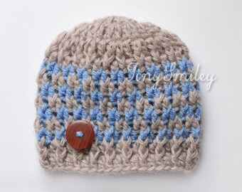 Newborn Baby Boy Hat, Crochet Baby Boy Hat, Button Baby Hat, Hospital Boy Hat, Baby Outfit, Hats for Boys, Beige and Blue Baby Boy Hat