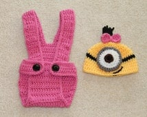 Crochet Girl Minion Outfit. Crochet Girl Minion Diaper Cover and Hat . Crochet Photo Props. Pink.