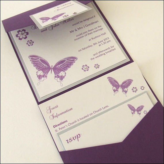 Butterfly Themed Wedding Invitations: Items Similar To Butterfly Pocketfold Wedding Invitations