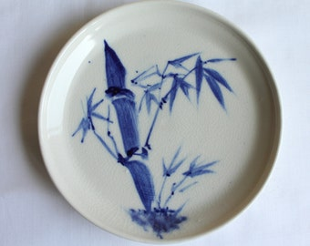Vintage Ceramic Plate ,Japanese, Blue Bamboo Design, Blue on White, Hand Painted