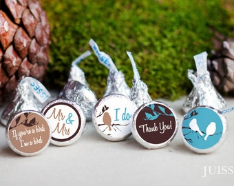 Printed personalized hershey kiss sticker Hershey kiss label Bridal shower Winter wedding decor Love birds Party favors Ready to use