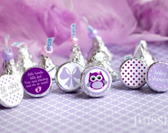 Printed for you personalized baby shower hershey kiss label Hershey kiss stickers It's a girl Purple Baby shower favors Printed Ready to use
