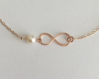 Infinity Bracelet. Pearl Bracelet. Rose Gold Infinity Bracelet. Gift for Wife.Mom.Sisters.Bridal Jewelry.Figure 8. Layer Bracelet.Bridesmaid