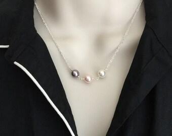 Sterling Silver Birthstone Necklace. Pearl Necklace. Swarovski Pearl. Grandma. Mother Necklace. Birthstone Jewelry. Family Keepsake Jewelry.