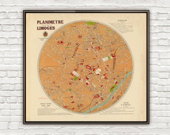 Old Map of Limoges 1931 France