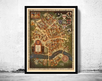 Vintage Harvard university Prospect Map