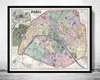 Old Map of Paris, France 1878