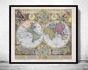 Old Map of The World  1730 Antique map
