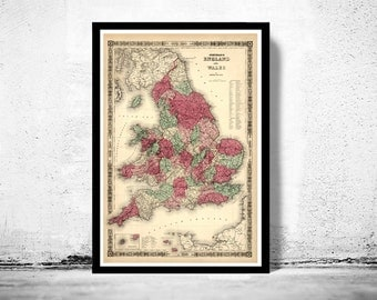 Old Map of England and Wales 1865 UK