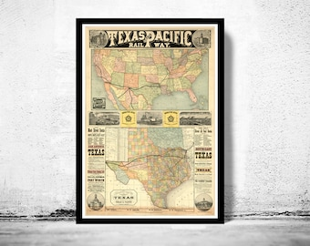 Old Map Texas Pacific Railway 1876 United States of America