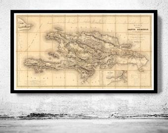 Old Map Dominican Republic and Haiti of Hispaniona  Island, 1858